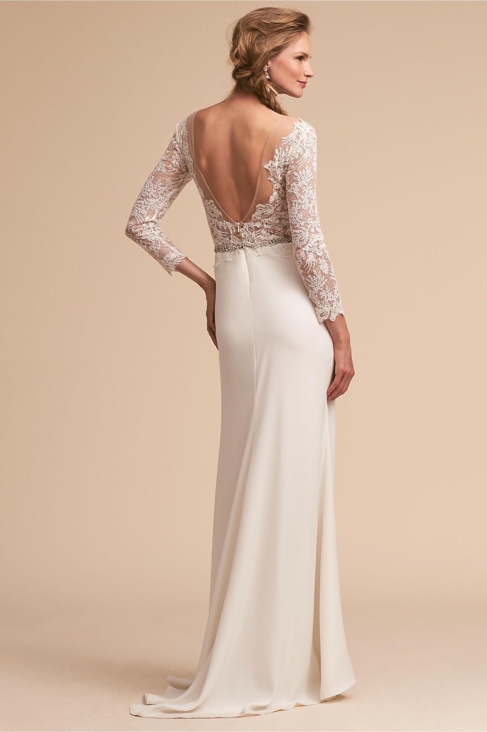 Dresses for wedding reception for bride  BHLDNus Tadashi Shoji Langston Gown in Ivory  Beach Wedding