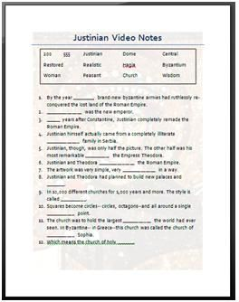 emperor justinian video notes this is a worksheet i made based off of a discovery education. Black Bedroom Furniture Sets. Home Design Ideas