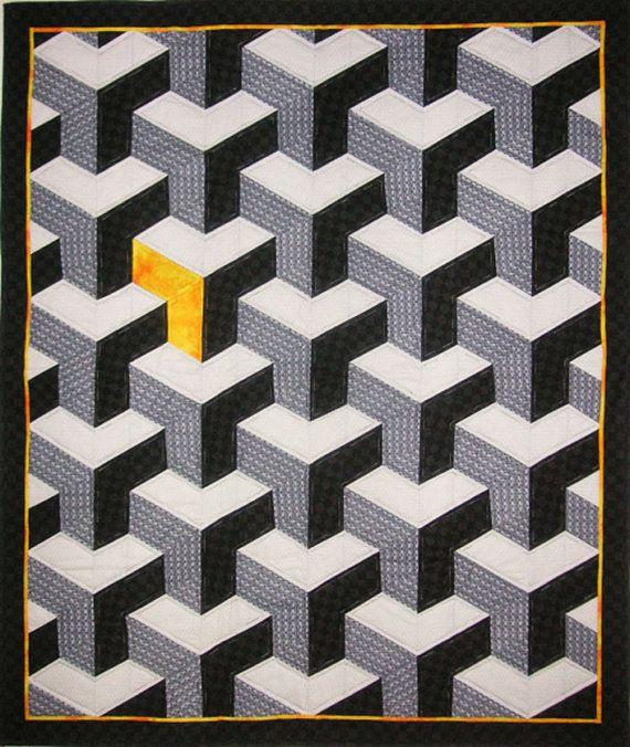 Inner City Quilt Pattern by Lessa Siegele - 3D geometrical