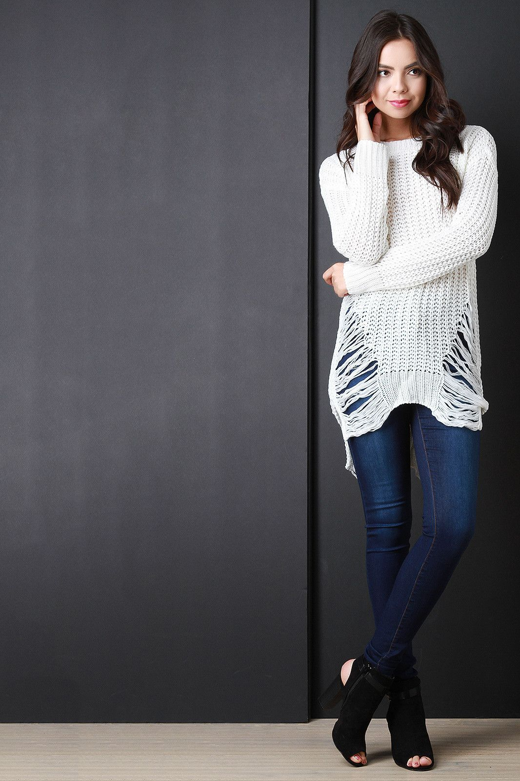 Shred Accent Loose Knit Sweater Top