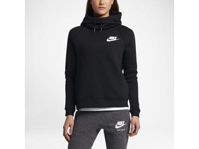 Nike Sportswear Rally Funnel Neck Women's Sweatshirt (Black/Black/White, Palm Green/Palm Green/Black) (XS)