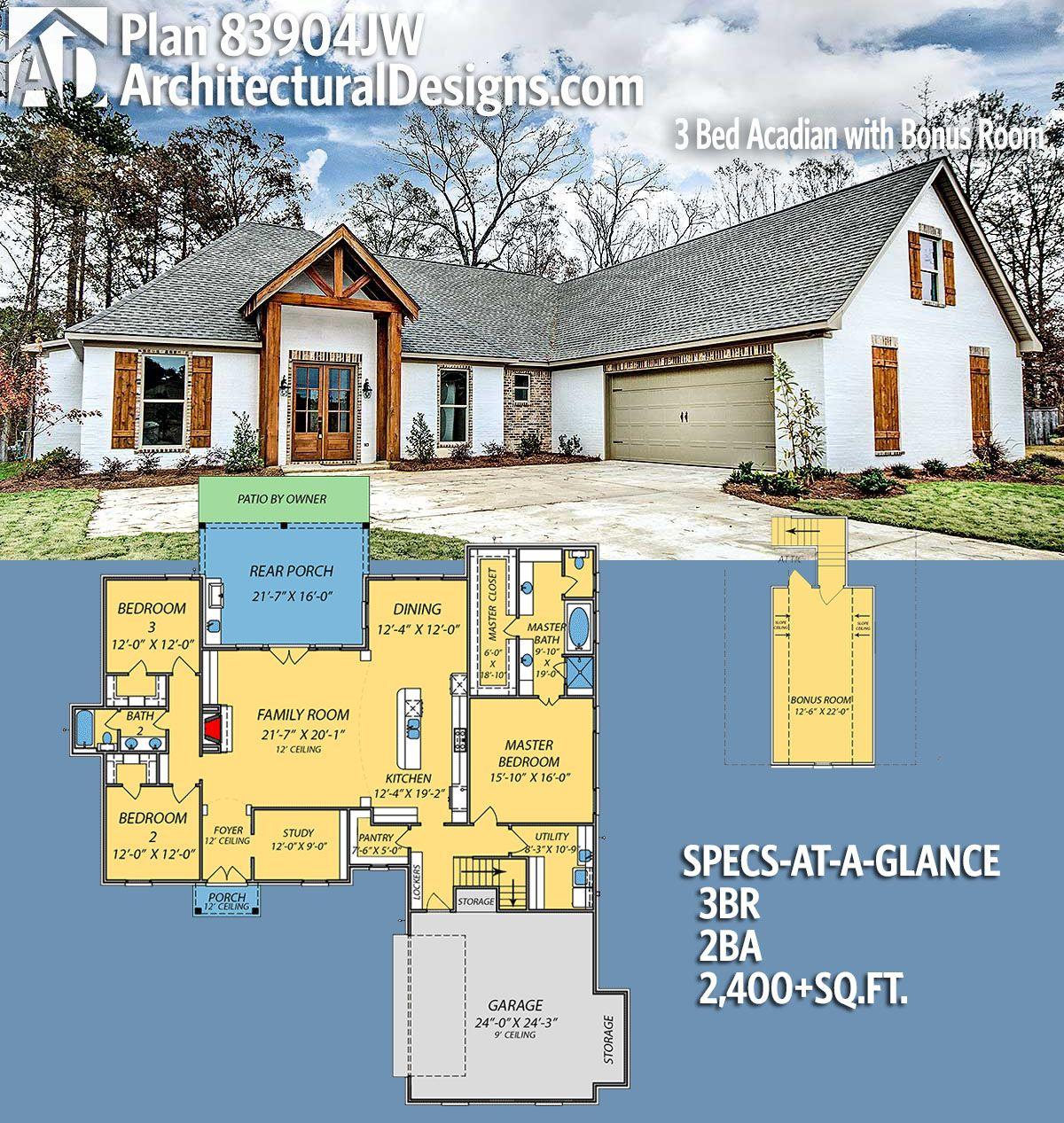 Plan 83904jw Exclusive Acadian House Plan With Bonus Room