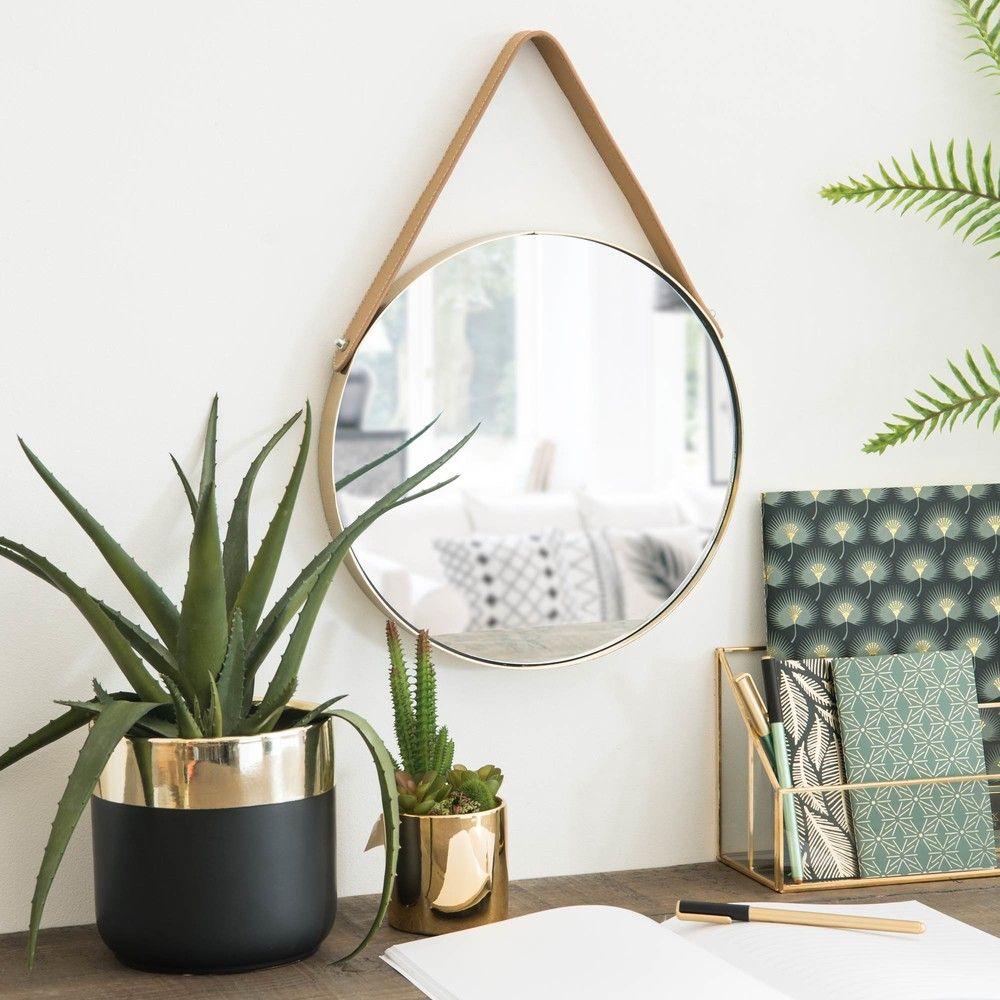 Round Gold Metal Wall Mirror Maisons Du Monde Green Addict  # Muebles Maison Du Monde