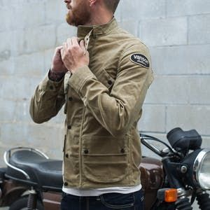 9765ce5d5 Vanson Stormer Waxed Canvas Jacket - Tan in 2019 | my likes | Waxed ...