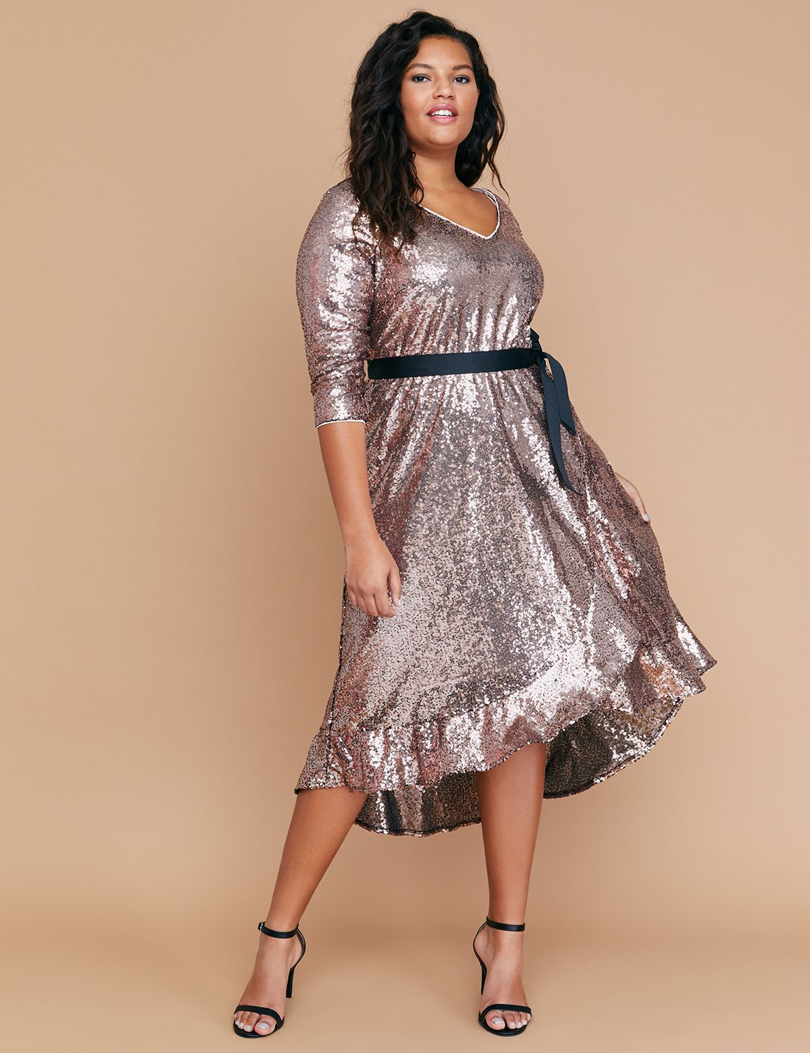 ef08ac73bfb Sequin Fit   Flare Faux Wrap Dress