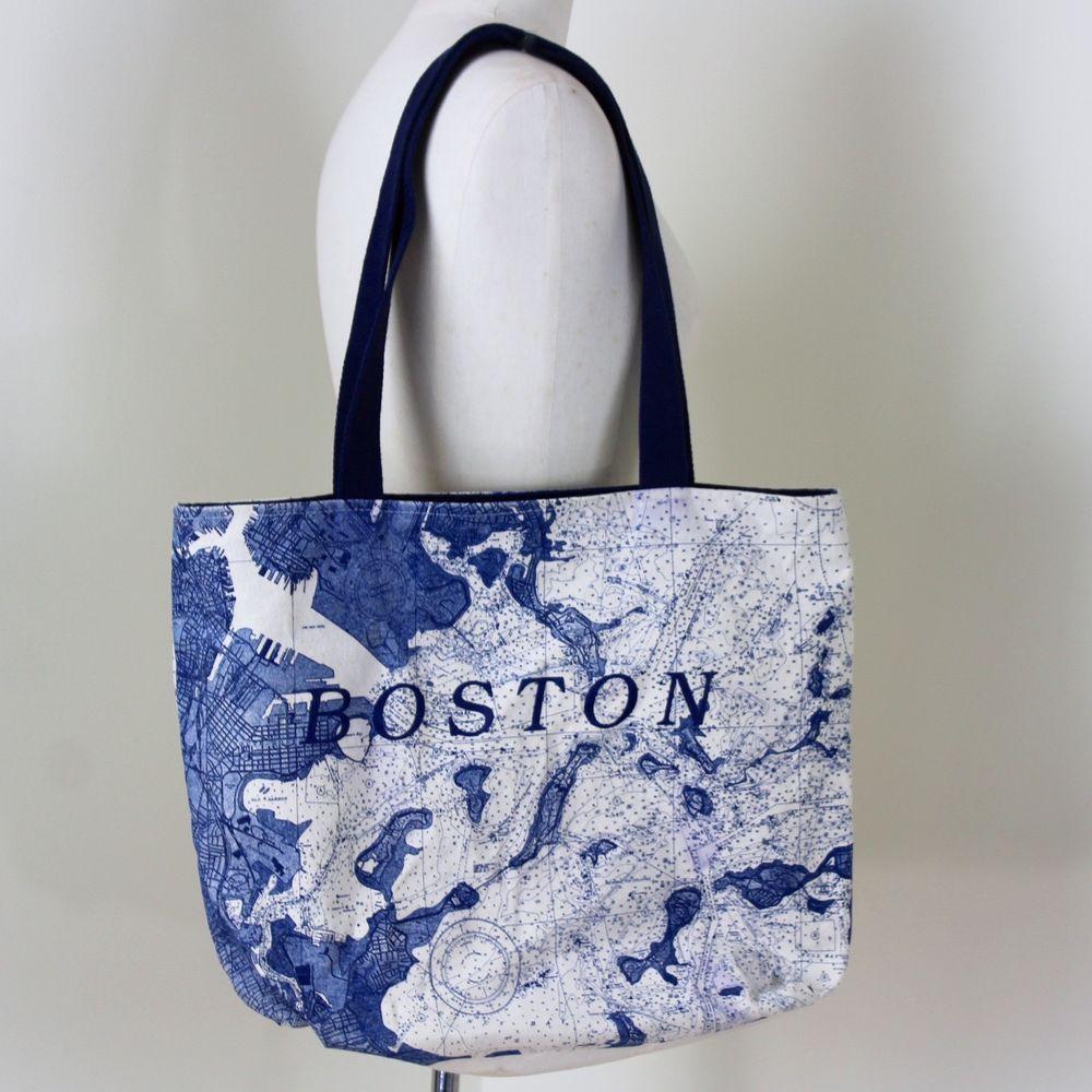 Map of boston ma canvas tote shopping beach picnic boat bag blue zip  closure totebag jpg 6164c9a6b6778