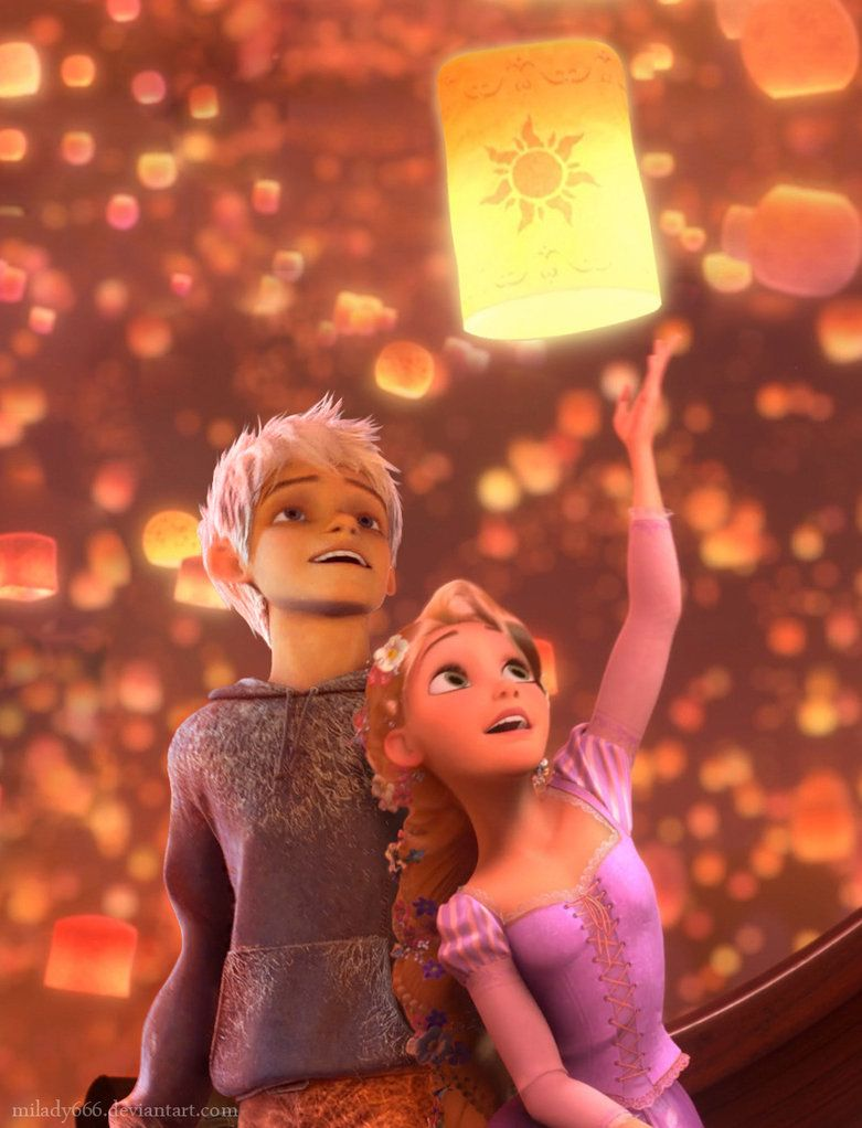 Jack Frost and Rapunzel watching the lanterns. They\'re a great ...