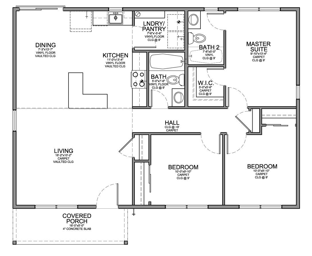 floor plan for affordable 1,100 sf house with 3 bedrooms and 2
