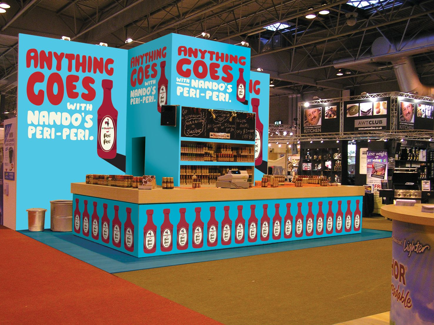 Trade Stands Olympia : Exhibition stand nandos bbc good food show olympia