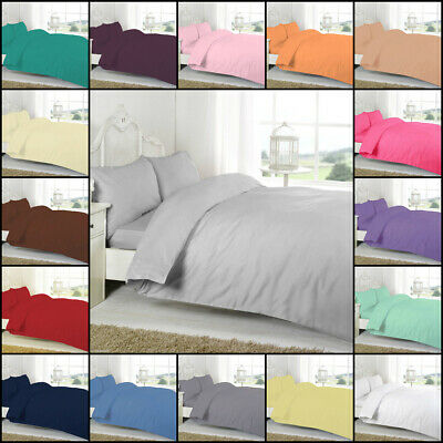 Plain Dyed Polycotton Duvet Quilt Cover With Pillowcase Bedding Set All UK Sizes