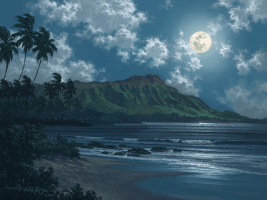 (Painting by Roy Gonzales Tabora, Hawaii titled Diamond In The Night)