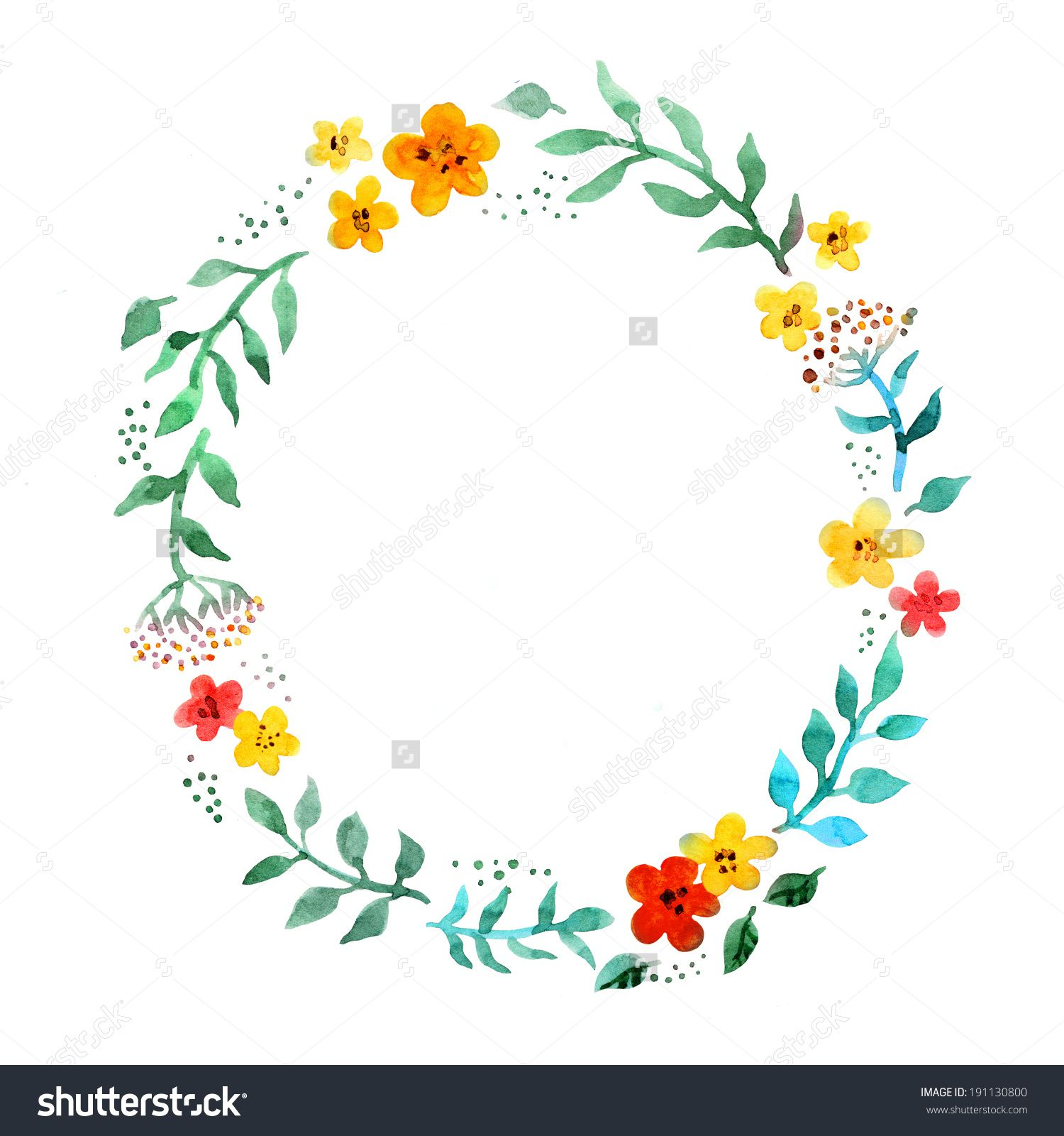Floral circle wreath with cute flowers watercolor hand painted floral circle wreath with cute flowers watercolor hand painted border for greeting card kristyandbryce Image collections