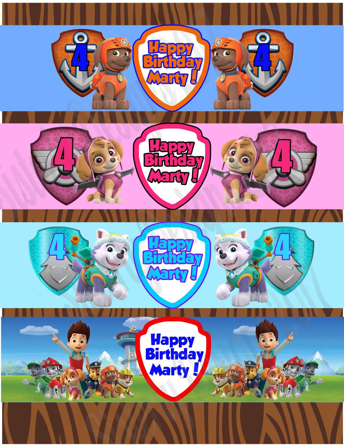 Water Bottle Labels|Paw Patrol|You Print|Customize|Personalize|Paw ...