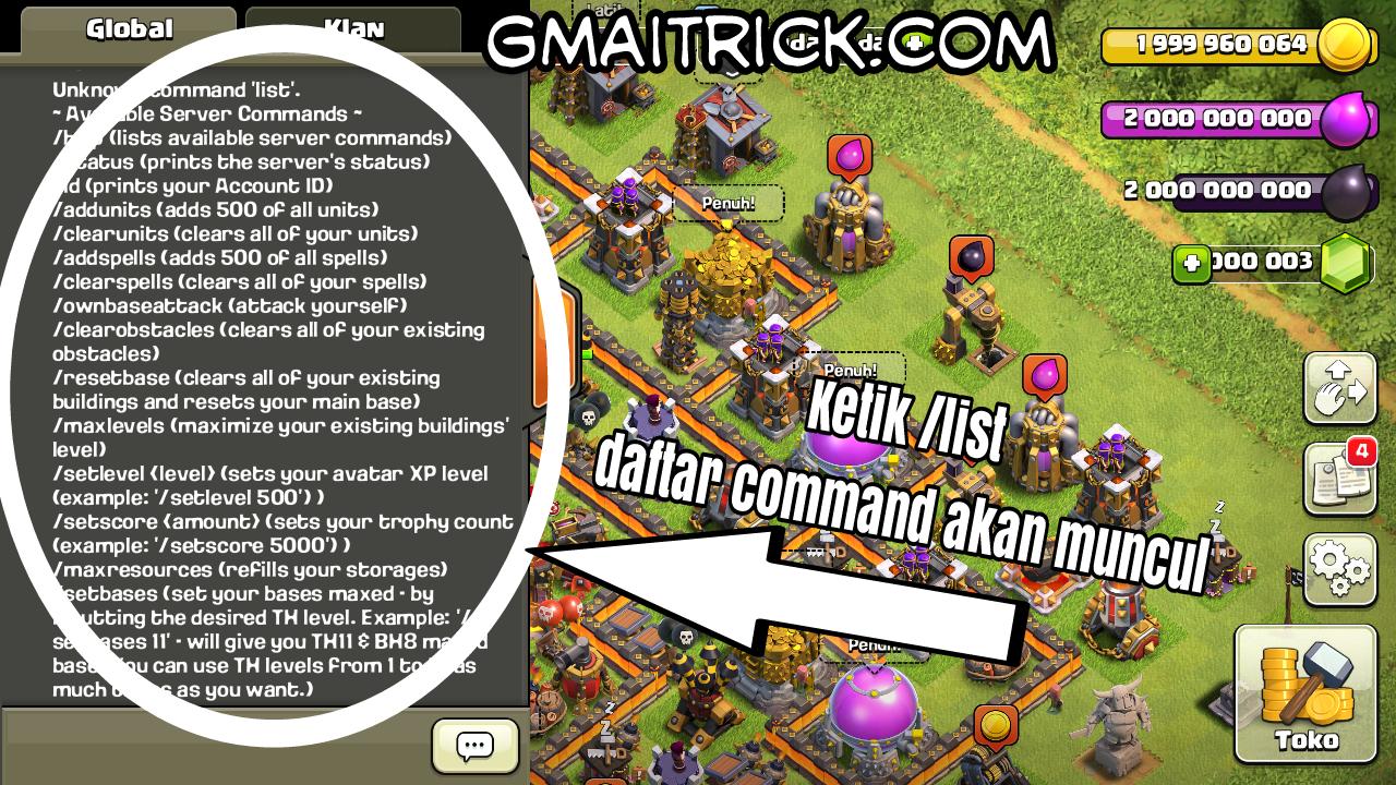 Cara Menggunakan Semua Command Coc Mod Apk Clash Of Clans Aplikasi