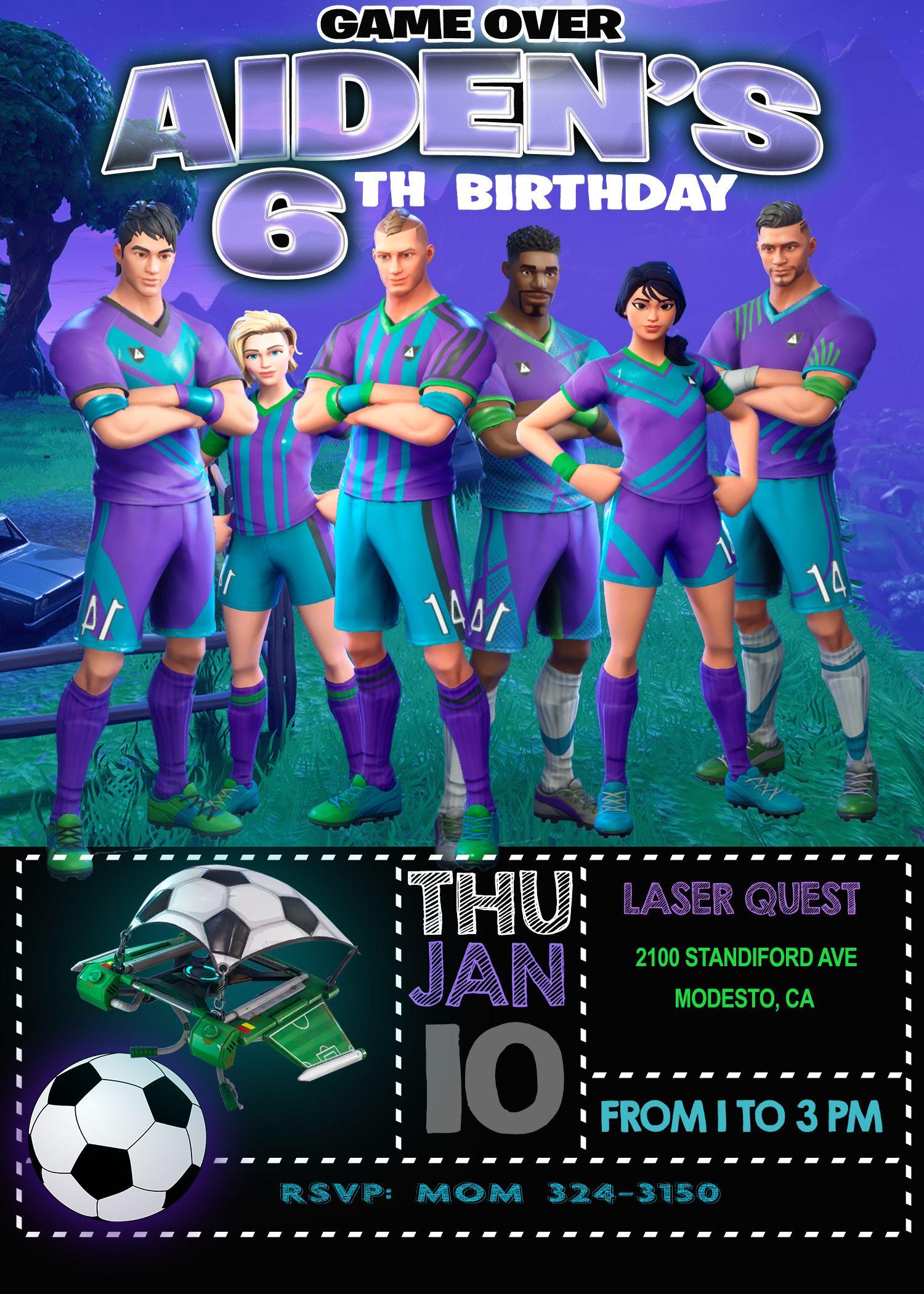 Fortnite Soccer Skins Birthday Invitation Oscarsitosroom Soccer Birthday Parties Birthday Invitations Birthday Party Invitations Printable