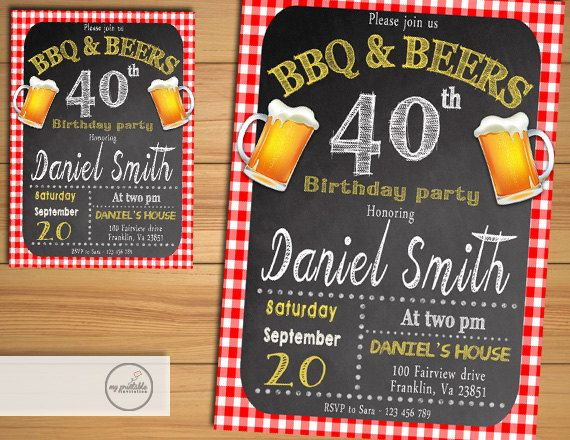 bbq birthday party invitation digital printable chalkboard