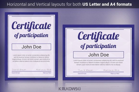 Psd Certificate Of Participation Template  Certificate Of