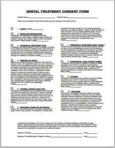 dental treatment consent form template Dental treatment consent form DOWNLOAD at http://www.templateinn.com ...