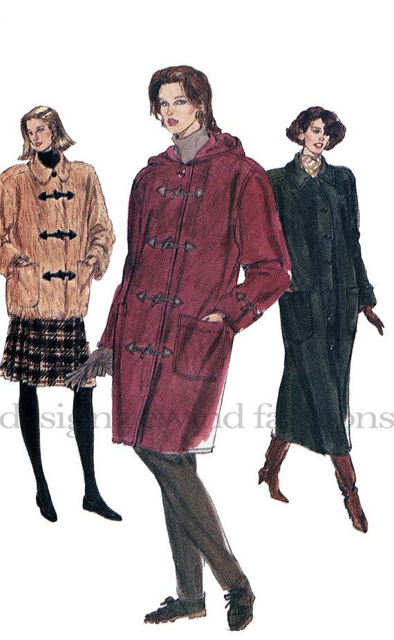 1990s Misses/Petite Loose-Fitting Straight Coat Hooded or w/ Collar ...