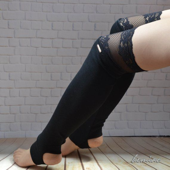 31510f319 Sexy thigh high black leg warmers