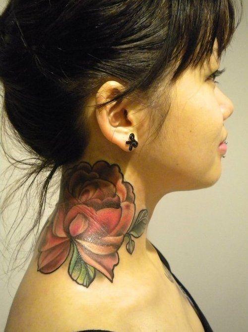 Neck Flower Tattoo For Women Tattoos Mob Neck Tattoo Rose Neck Tattoo Neck Tattoos Women
