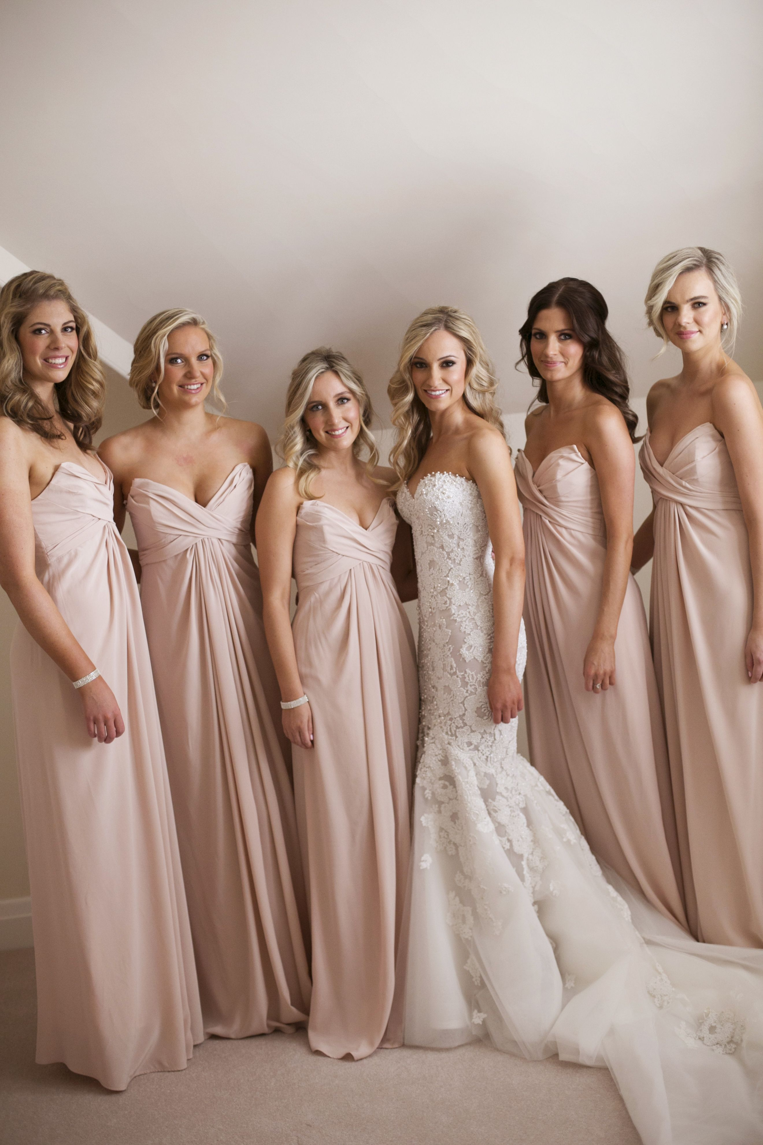 Bride in Steven Khalil and bridesmaids in blush dressess | itakeyou.co.uk