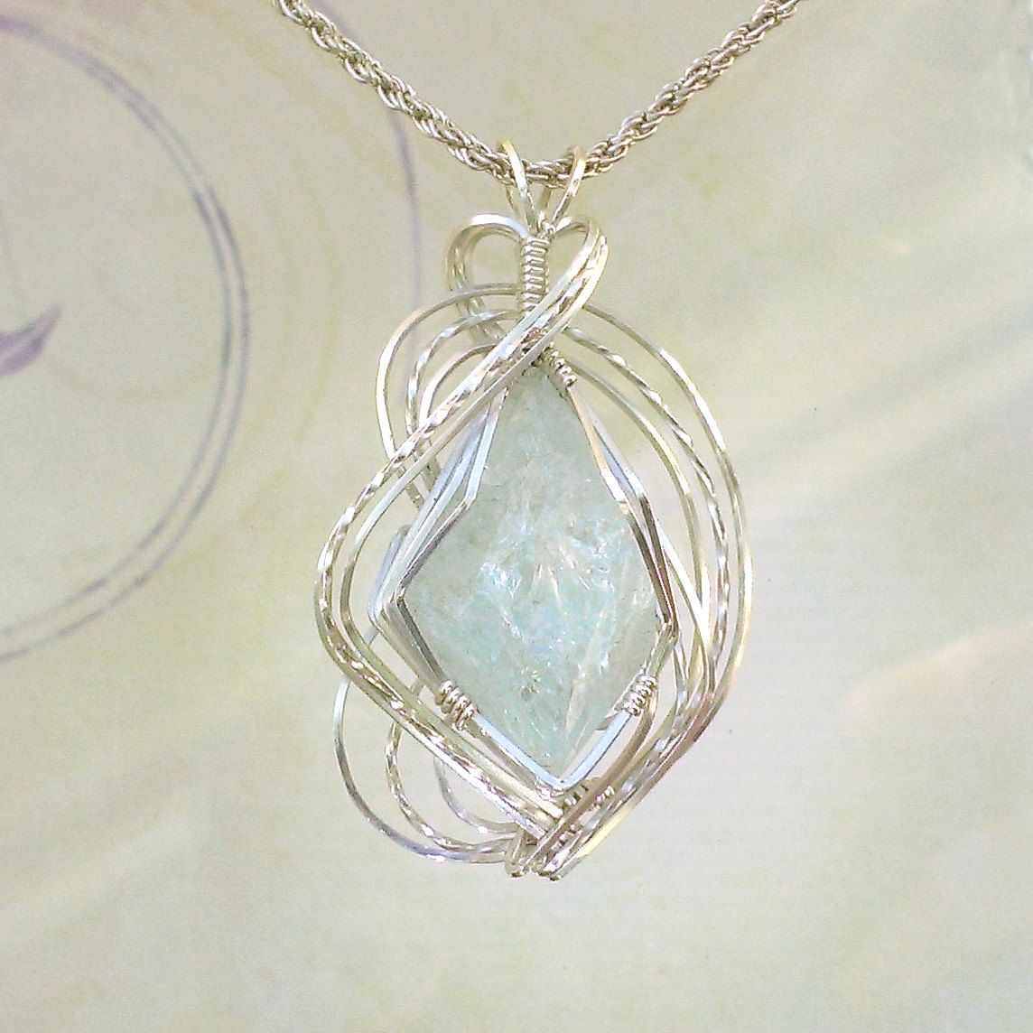 Aquamarine Crystal Pendant Necklace Wire Wrapped Jewelry Handmade in ...