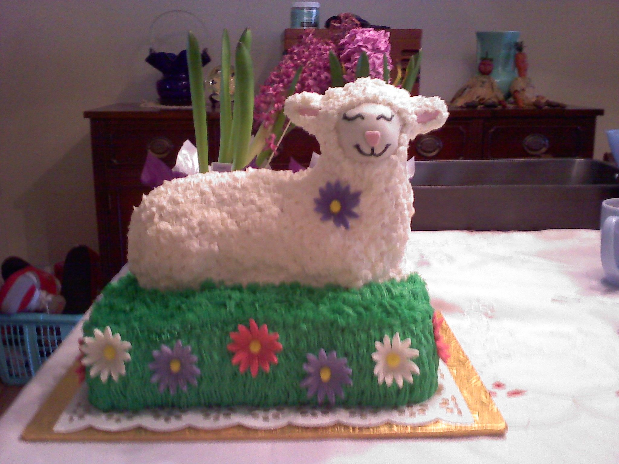 Easter lamb cake with a twisti baked a traditional lamb