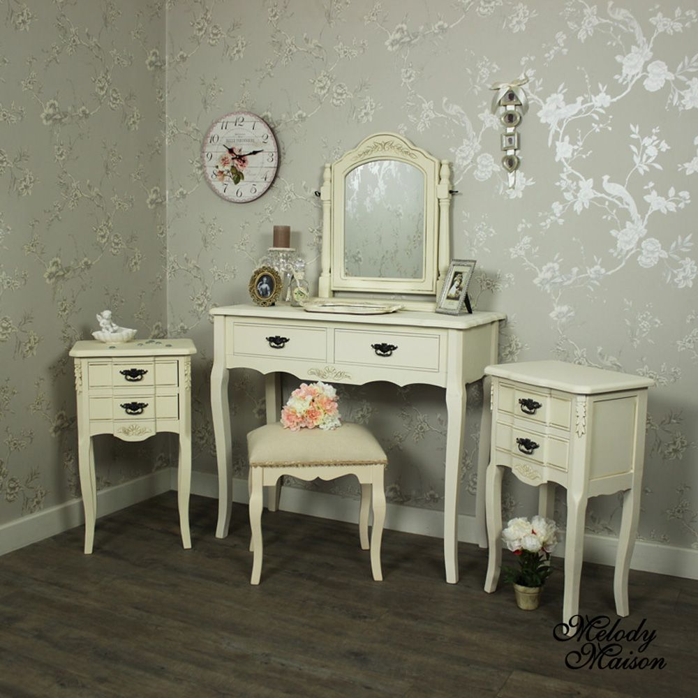 Belgravia Range   Furniture Bundle, Cream Dressing Table, Mirror, Stool And  2 Bedside Tables A Cream Furniture Bundle With Dressing Table, Mirror, ...