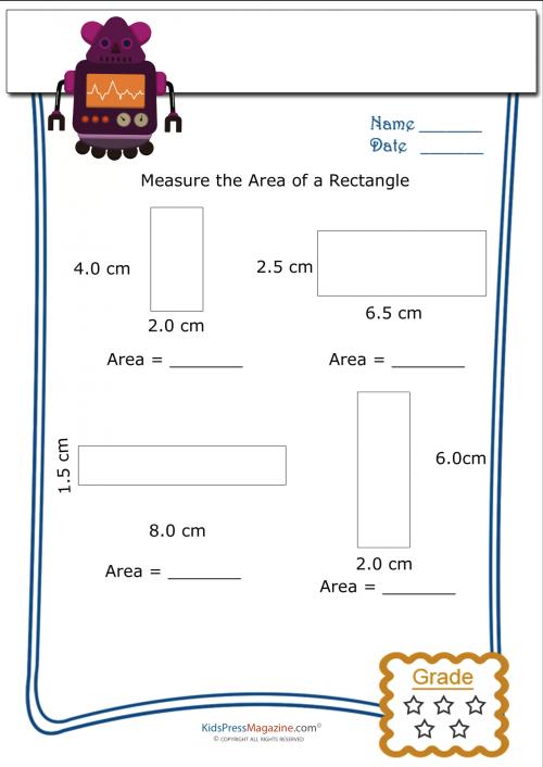 Measure Perimeter Worksheet Rectangle 4 Area