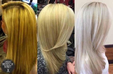 Transformation Orange To Cool Silver Blonde Color Correction