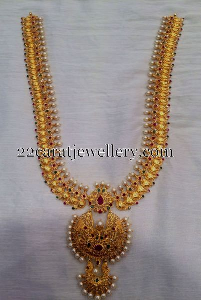 mango long chain with pearls jewellery designs gold