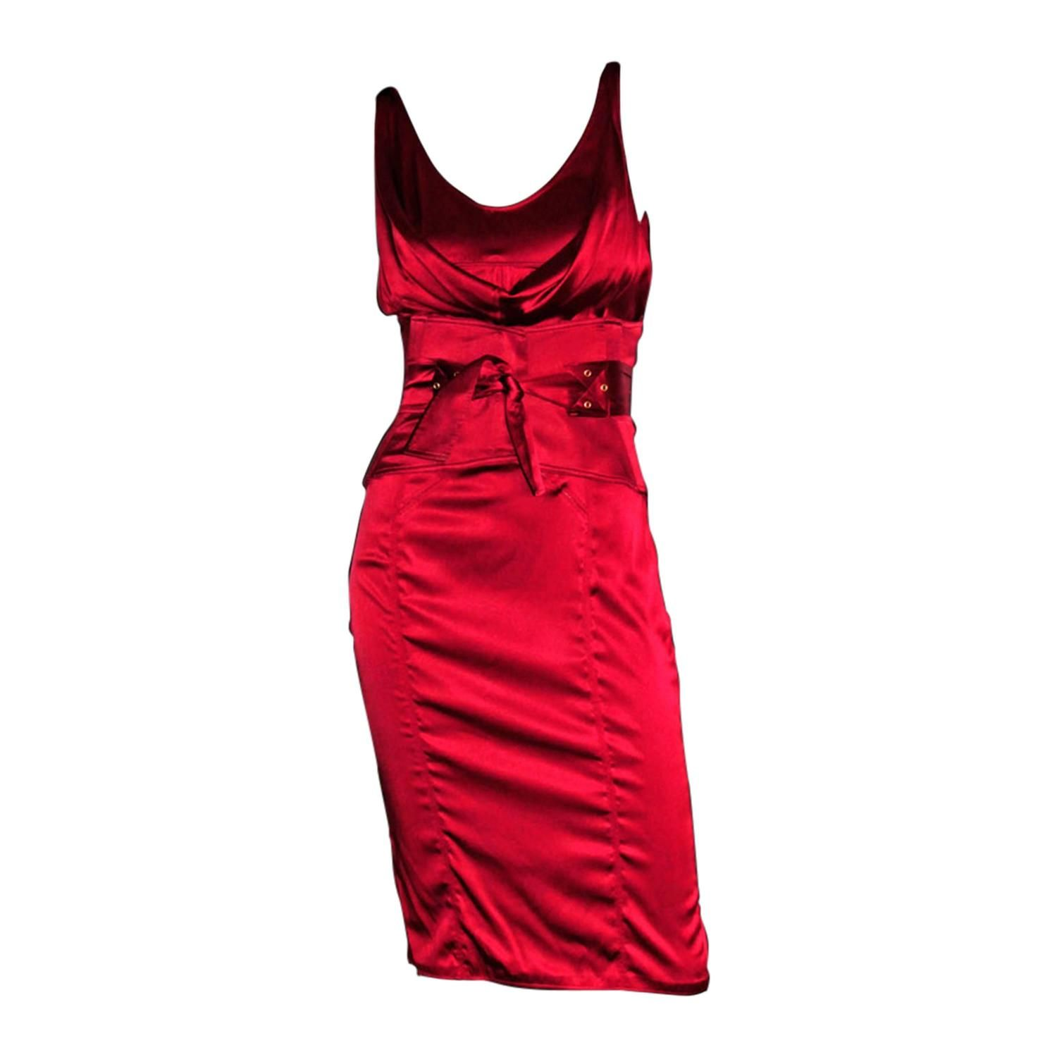 42d7eedc9f That Incredible Tom Ford For Gucci FW 2003 Cherry Red Silk Corset Dress    Belt