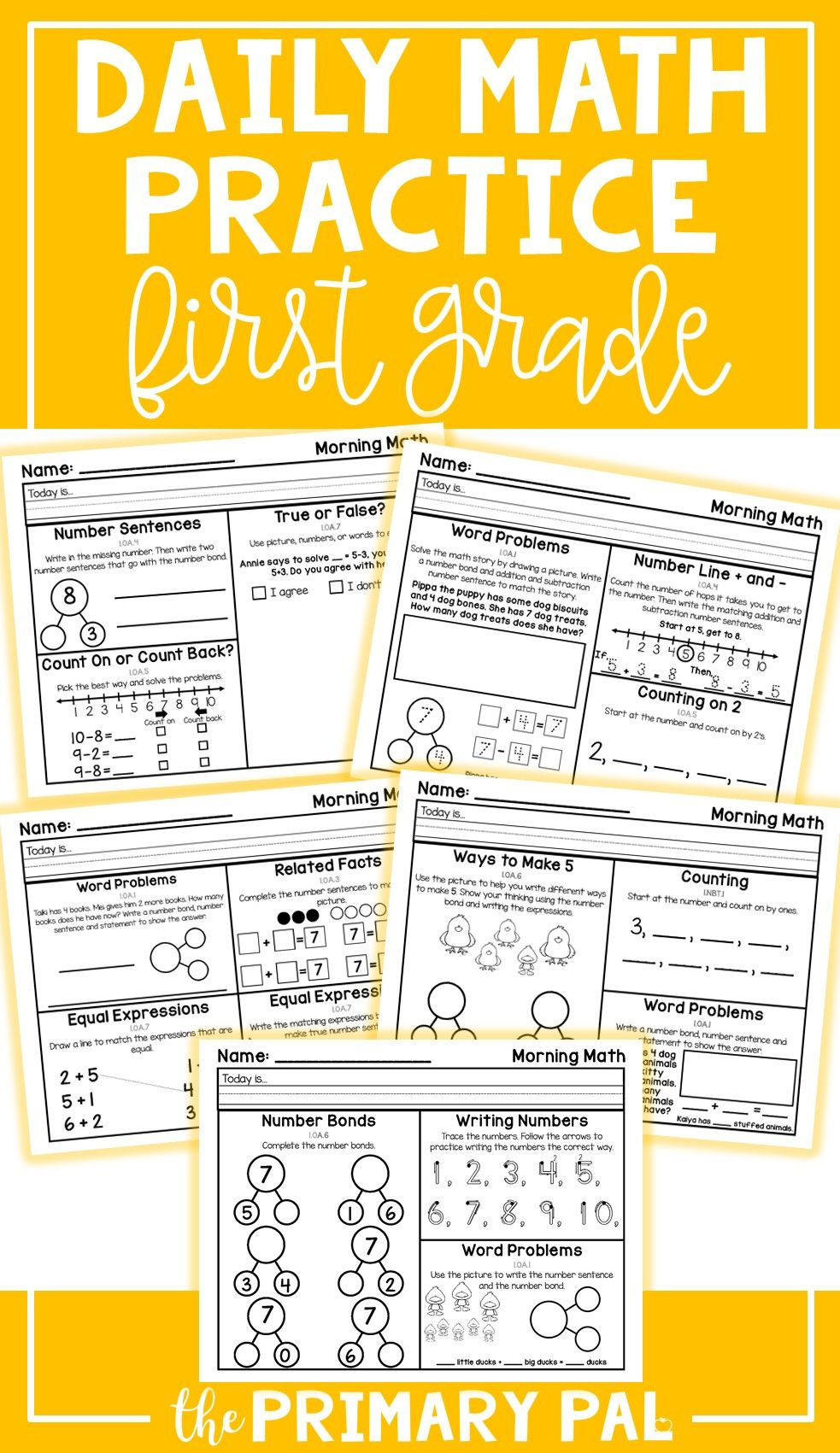 Perfect For Establishing A Daily Routine That Supports The Development Of Math Skills In 1st Grade Each Prac First Grade Math First Grade Math Worksheets Math [ 1701 x 983 Pixel ]