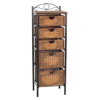 Iron And Wicker Storage Shelf Muebles Mimbre Rattan