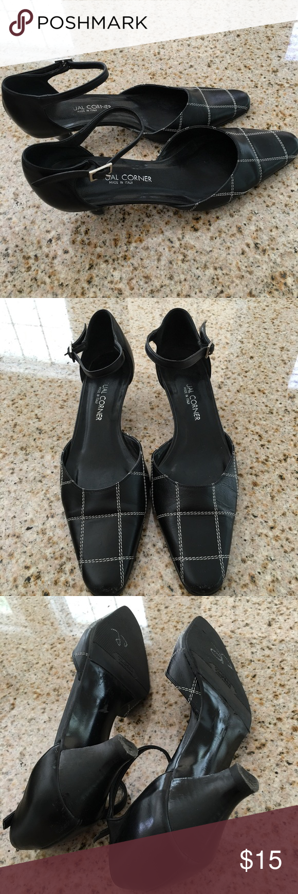 Italian Black Leather Ankle Strap Kitten Heels Italian Black Leather Ankle Strap Kitten Heels by Casual Corner. Size 8 1/2 M. Good condition. Minor wear on back of heel and tip of shoe. Casual Corner Shoes Heels