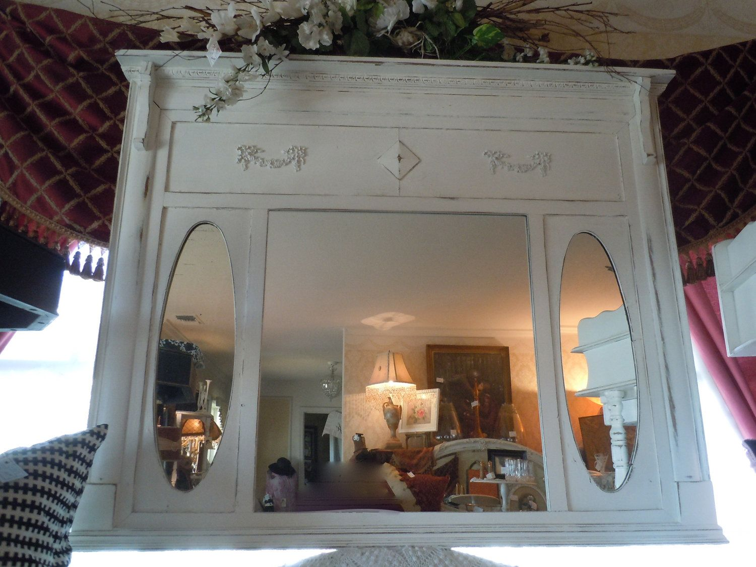 Repurposed Antique Mirrored Fireplace Mantel White Shabby Chic
