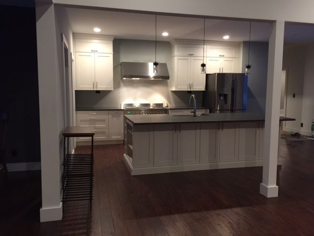 Recently Completed Kitchen. White Shaker Cabinets. Shadow ...