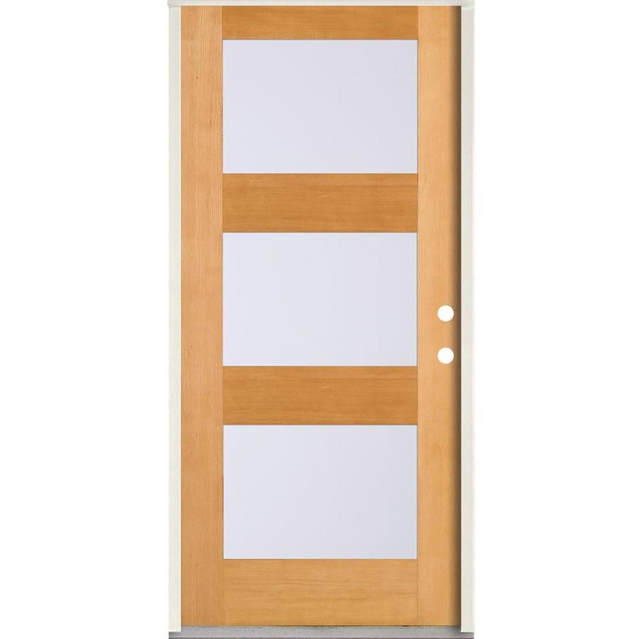 Simpson Full Lite Frosted Glass Left Hand Inswing Brown Wood Prehung Entry Door Solid Core Common 36 In Entry Doors Brown Wood Wood Doors Interior