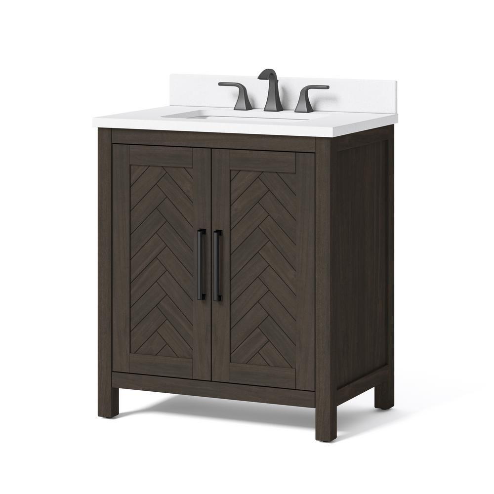 Unbranded Leary 30 In W X 34 5 In H Bath Vanity In Dark Brown With Engineered Stone Vanity Top In White With White Basi In 2020 Engineered Stone Vanity Bath Vanities