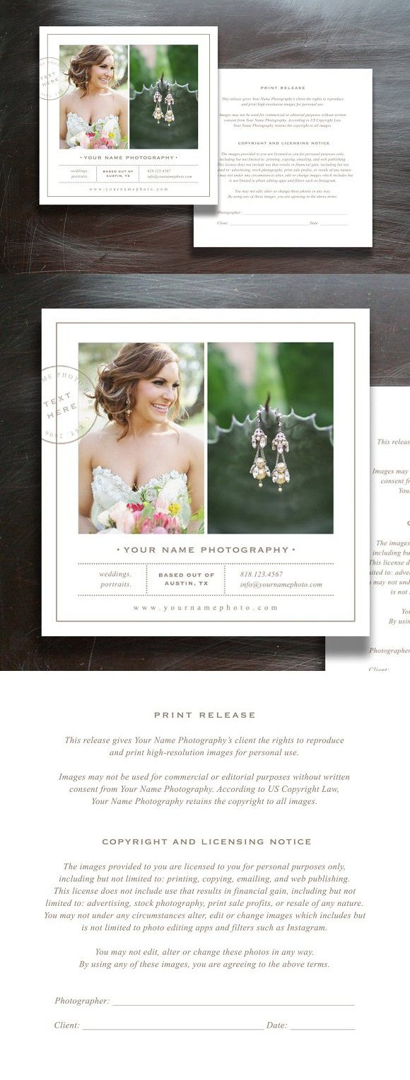 Photographer Print Release Form  Wedding Fonts Fonts And