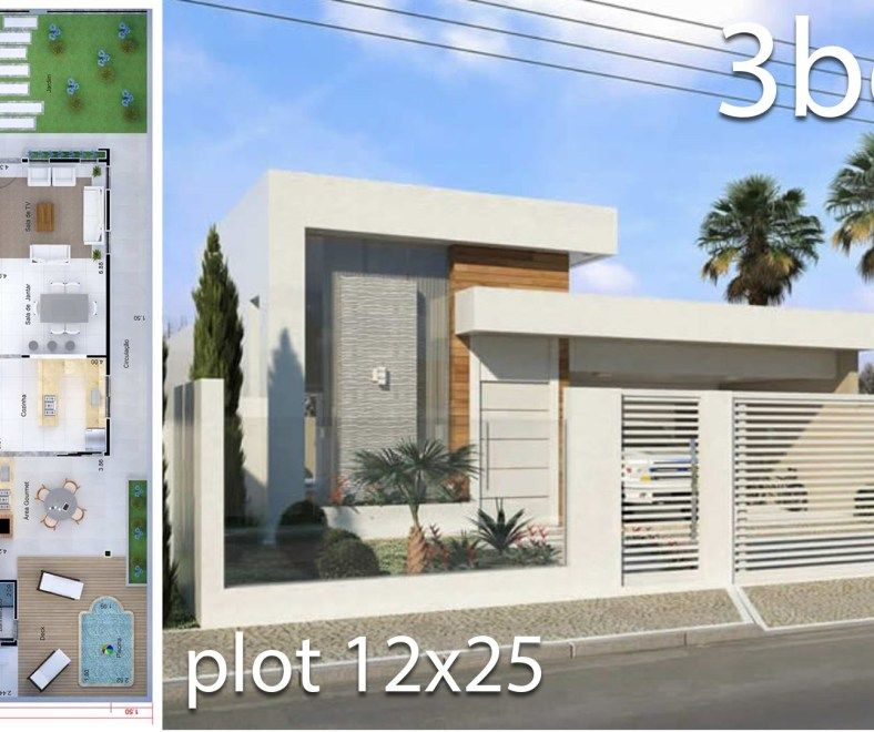 Home Design 5x25 Meters Home Design With Plan House Design House Plans Facade House