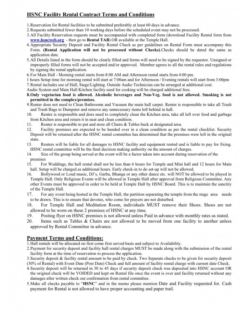 HSNC Facility Rental Contract Terms And Conditions
