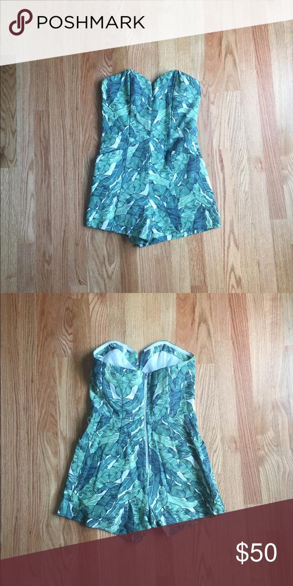 9f81bce837c H M Palm Leaf Print Conscious Romper Worn once! H M Pants Jumpsuits    Rompers
