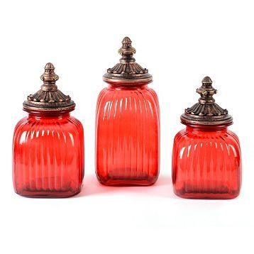 Red Glass Canister, Set of 3 | Glass canisters, Red glass ...