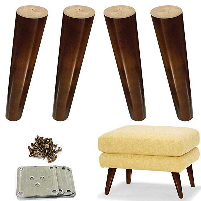 Wood Sofa Legs 8 Inch Pack Of 4 Walnut Finished Furniture Feet Replacement Legs Universal For Coffee Table Ikea Buffets Bed Sideboards Cupboard Fml In 2019 Retro Furniture Makeover
