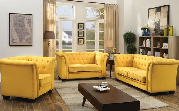 Gl322 Sofa G322 Glory Furniture Fabric Sofas In 2020 Yellow Living Room Furniture Mustard Living Rooms