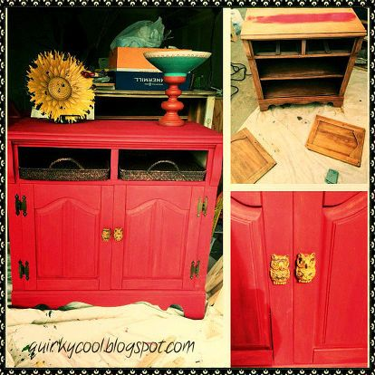 repurposed t v cabinet, painted furniture, repurposing upcycling, Before After and up close