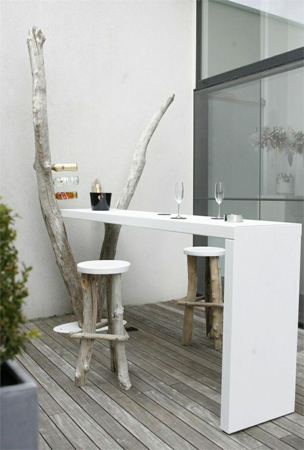 terrassengestaltung ideen privates cafe zu hause bartresen holz ...