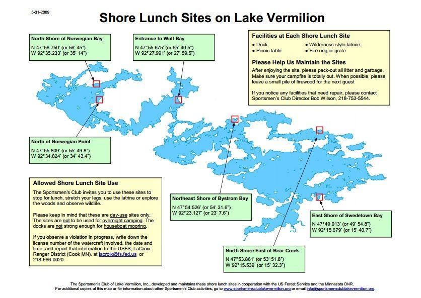 Lake Vermillion Minnesota Map.Shore Lunch Sites On Lake Vermilion Favorite Places Spaces On